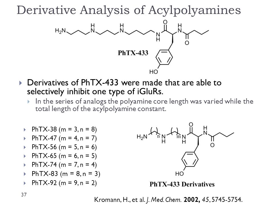 Derivative Analysis of Acylpolyamines  PhTX-38 (m = 3, n = 8)  PhTX-47 (m = 4, n = 7)  PhTX-56 (m = 5, n = 6)  PhTX-65 (m = 6, n = 5)  PhTX-74 (m = 7, n = 4)  PhTX-83 (m = 8, n = 3)  PhTX-92 (m = 9, n = 2)  Derivatives of PhTX-433 were made that are able to selectively inhibit one type of iGluRs.