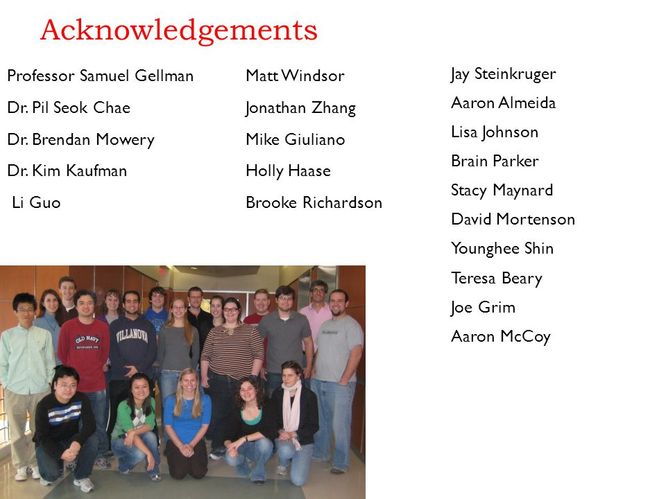 Acknowledgements Professor Samuel Gellman Dr.Pil Seok Chae Dr.