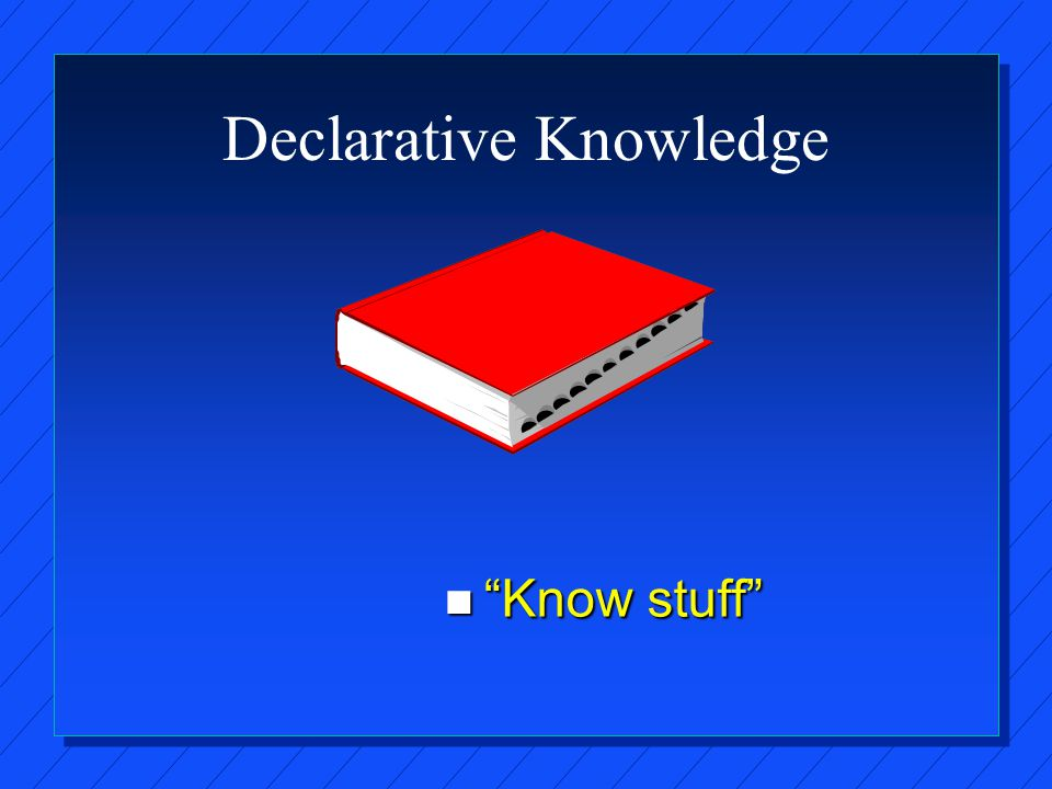 Declarative Knowledge n Know stuff