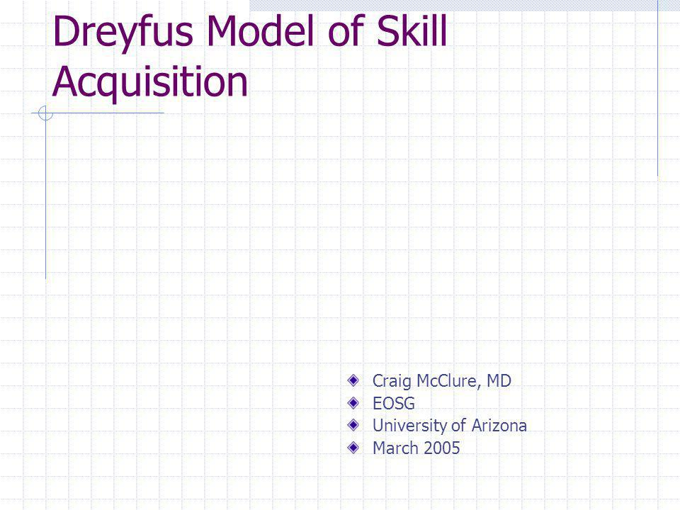 Dreyfus Model of Skill Acquisition The utility of the concept of skill acquisition lies in helping the teacher understand how to assist the learner in advancing to the next level.
