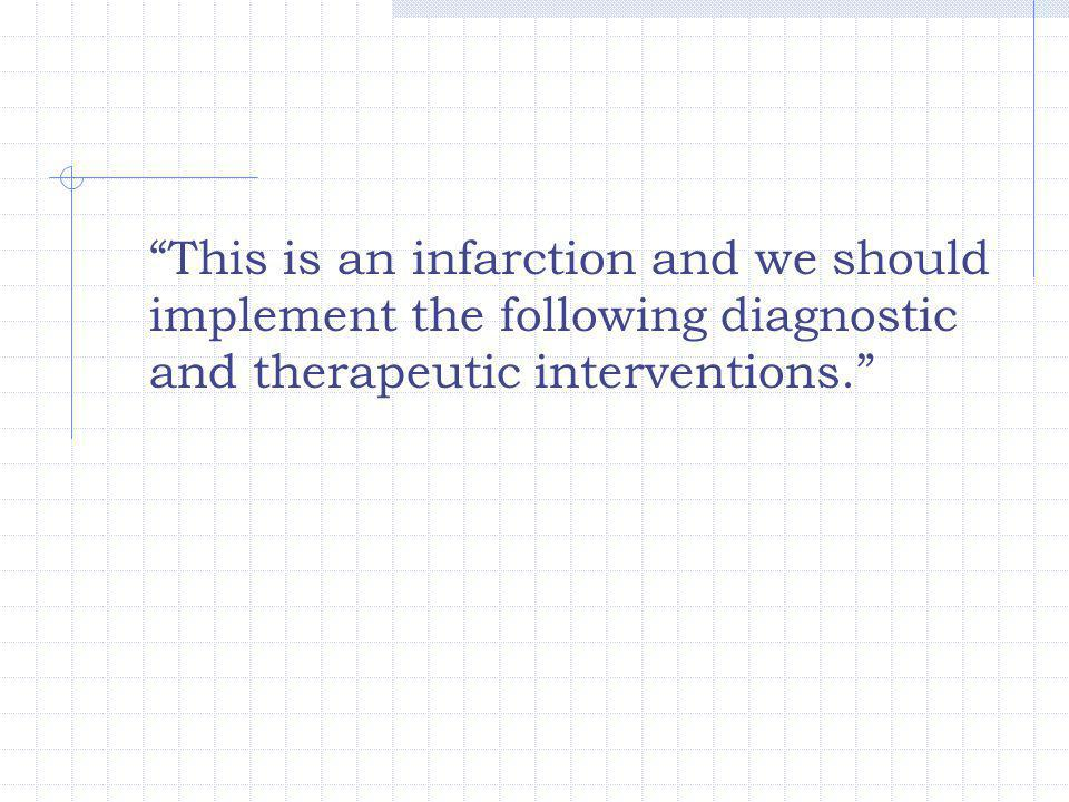 """This is an infarction and we should implement the following diagnostic and therapeutic interventions."""