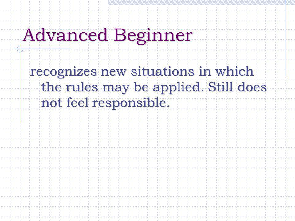 Advanced Beginner recognizes new situations in which the rules may be applied. Still does not feel responsible.