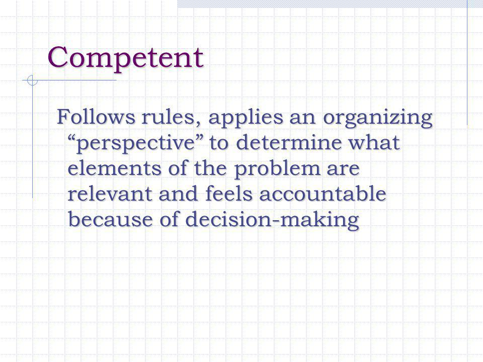 "Competent Competent Follows rules, applies an organizing ""perspective"" to determine what elements of the problem are relevant and feels accountable be"