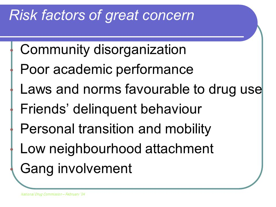 Risk factors of great concern Community disorganization Poor academic performance Laws and norms favourable to drug use Friends' delinquent behaviour Personal transition and mobility Low neighbourhood attachment Gang involvement National Drug Commission – February '04