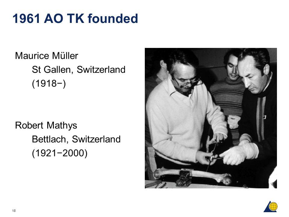 18 1961 AO TK founded Maurice Müller St Gallen, Switzerland (1918−) Robert Mathys Bettlach, Switzerland (1921−2000)