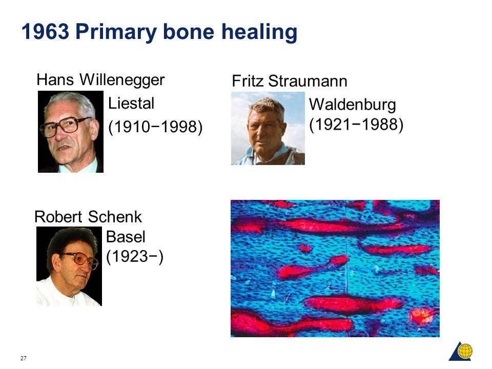 27 1963 Primary bone healing Hans Willenegger Liestal (1910−1998) Robert Schenk Basel (1923−) Fritz Straumann Waldenburg (1921−1988)