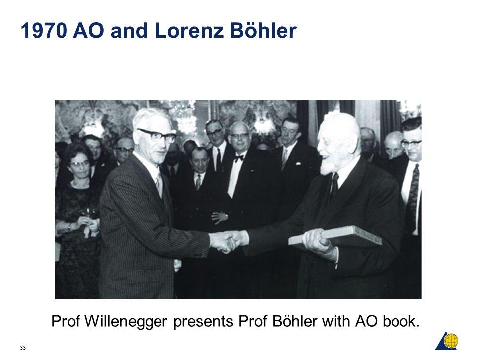 33 1970 AO and Lorenz Böhler Prof Willenegger presents Prof Böhler with AO book.