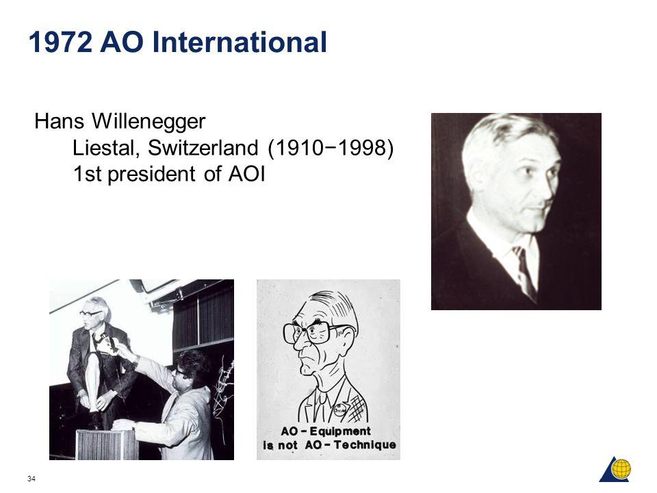34 1972 AO International Hans Willenegger Liestal, Switzerland (1910−1998) 1st president of AOI