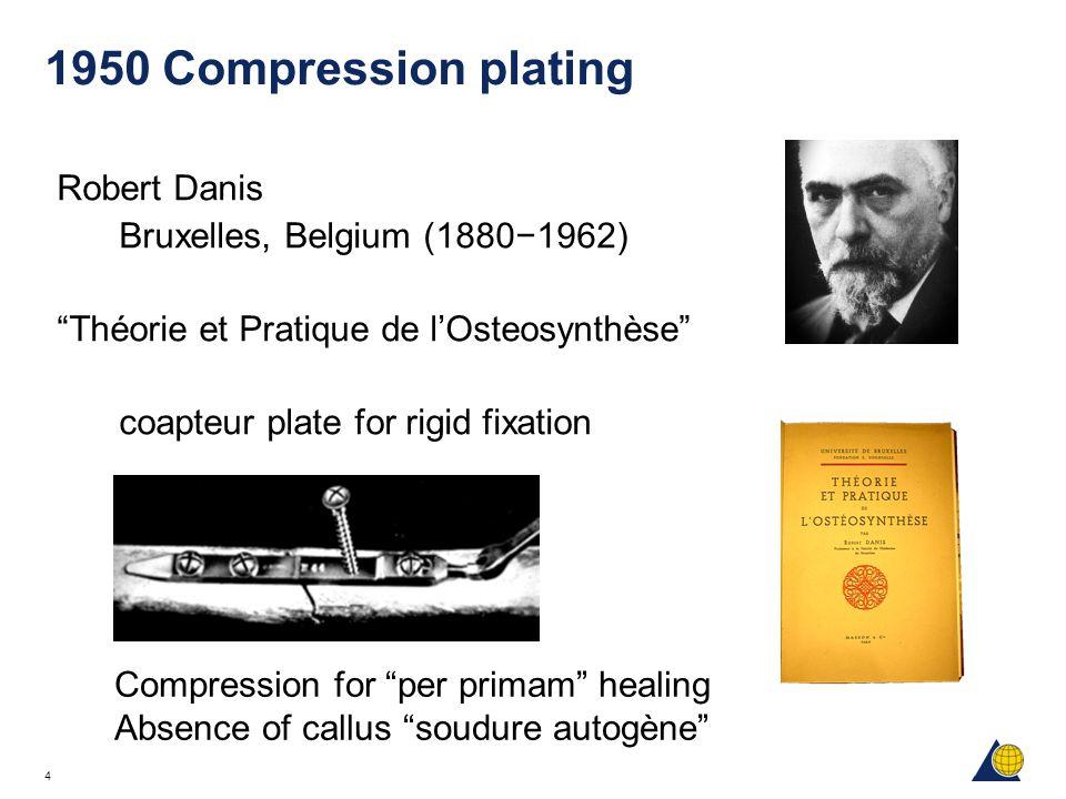 """4 1950 Compression plating Robert Danis Bruxelles, Belgium (1880−1962) """"Théorie et Pratique de l'Osteosynthèse"""" coapteur plate for rigid fixation Comp"""