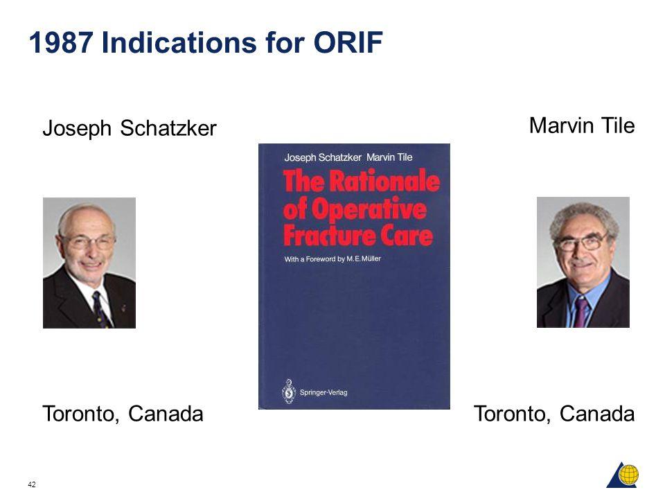 42 1987 Indications for ORIF Joseph Schatzker Toronto, Canada Marvin Tile