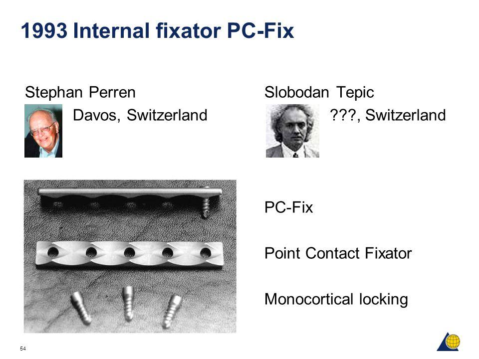 54 1993 Internal fixator PC-Fix Stephan Perren Slobodan Tepic Davos, Switzerland ???, Switzerland PC-Fix Point Contact Fixator Monocortical locking