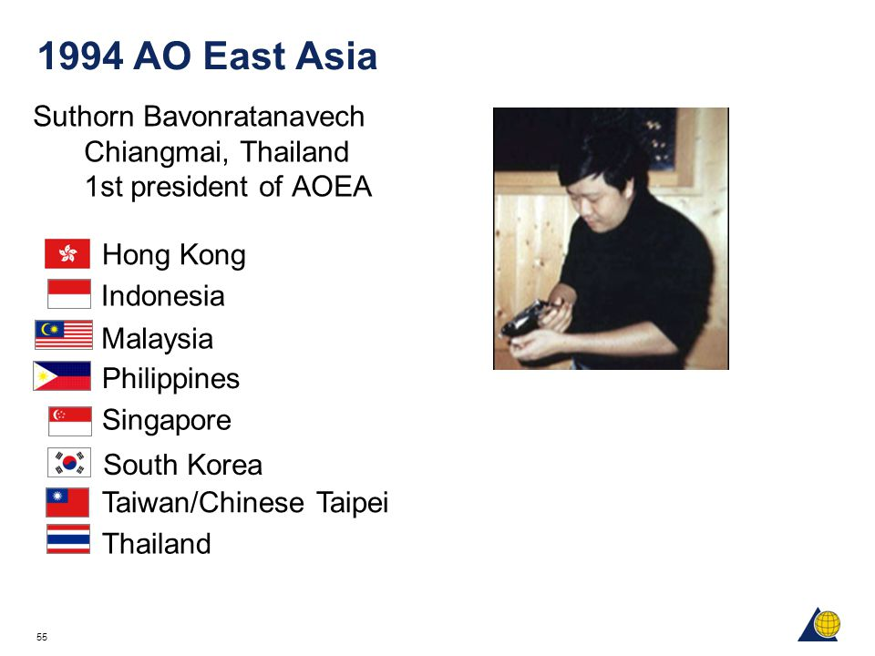 55 1994 AO East Asia Suthorn Bavonratanavech Chiangmai, Thailand 1st president of AOEA Hong Kong Indonesia Philippines Malaysia South Korea Singapore Taiwan/Chinese Taipei Thailand