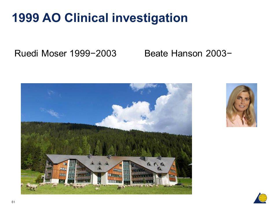 61 1999 AO Clinical investigation Ruedi Moser 1999−2003 Beate Hanson 2003−