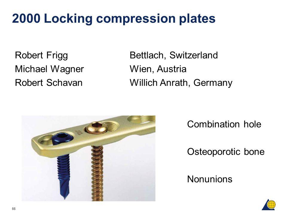 66 2000 Locking compression plates Robert FriggBettlach, Switzerland Michael WagnerWien, Austria Robert SchavanWillich Anrath, Germany Combination hol