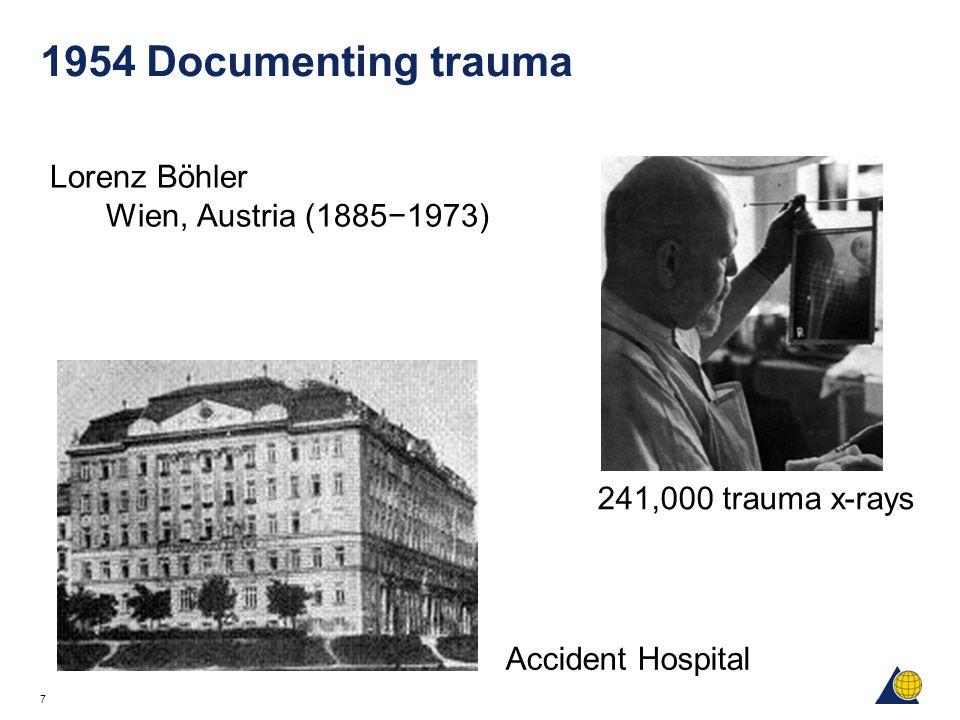 7 1954 Documenting trauma Lorenz Böhler Wien, Austria (1885−1973) Accident Hospital 241,000 trauma x-rays
