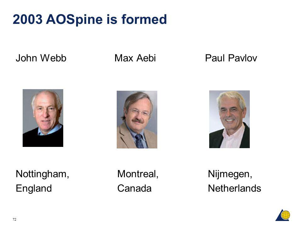72 2003 AOSpine is formed John Webb Max Aebi Paul Pavlov Nottingham, Montreal, Nijmegen, England Canada Netherlands