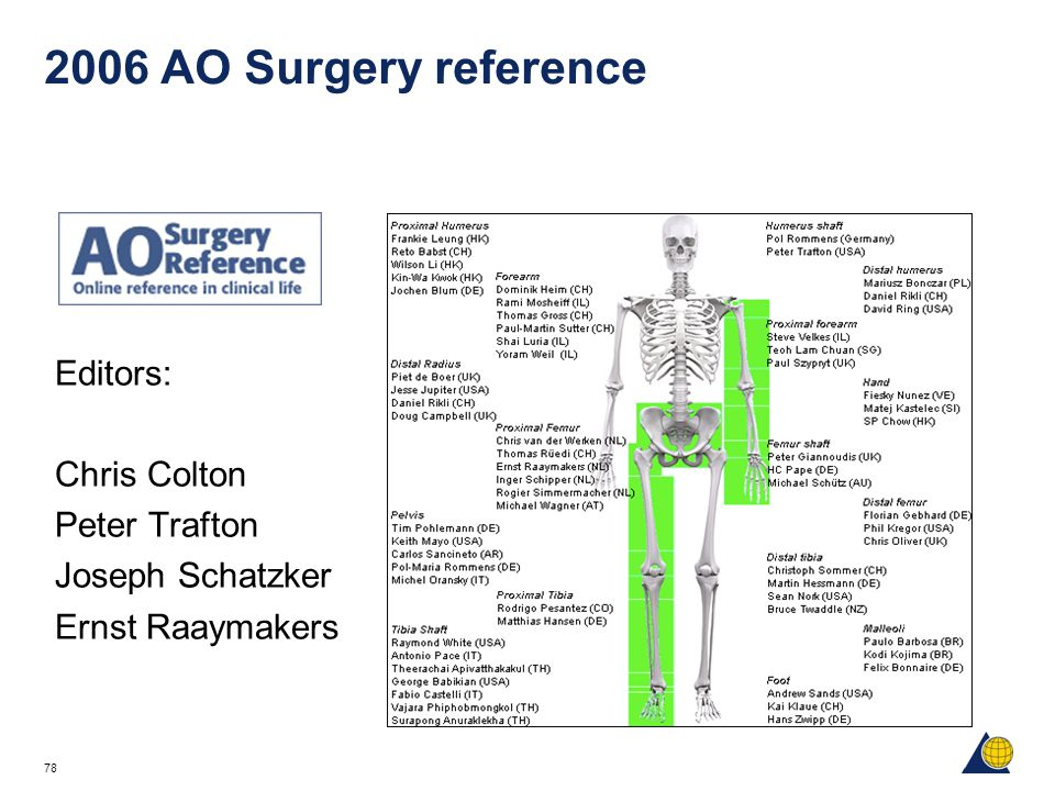 78 2006 AO Surgery reference Editors: Chris Colton Peter Trafton Joseph Schatzker Ernst Raaymakers