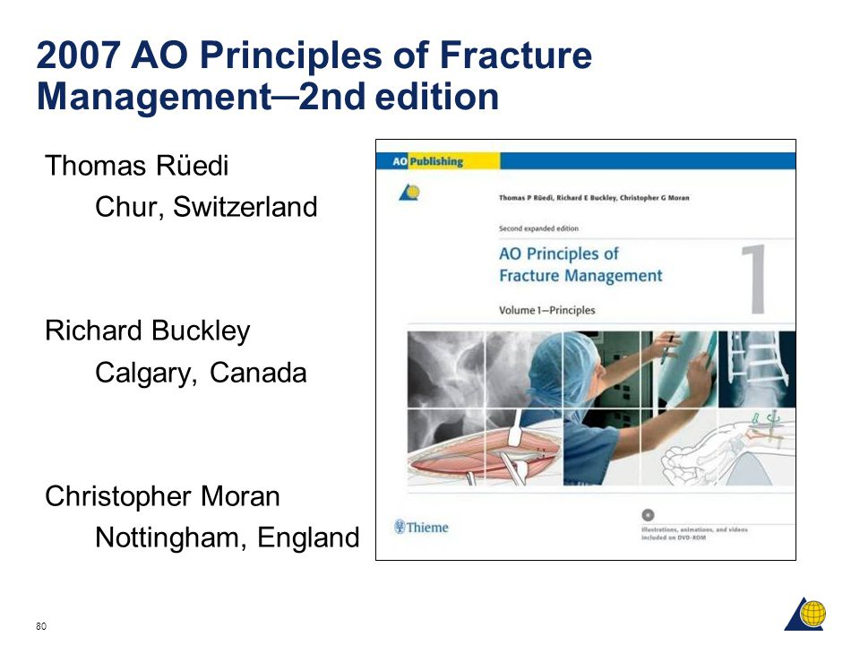80 2007 AO Principles of Fracture Management─2nd edition Thomas Rüedi Chur, Switzerland Richard Buckley Calgary, Canada Christopher Moran Nottingham, England
