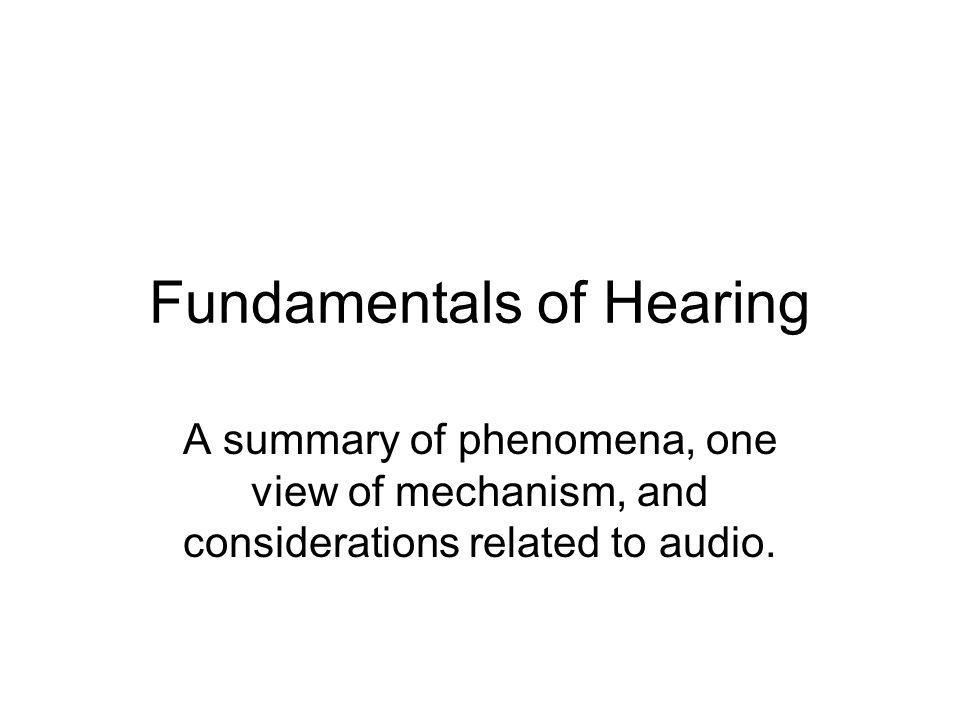 But first a Word on Audio and Acoustics.