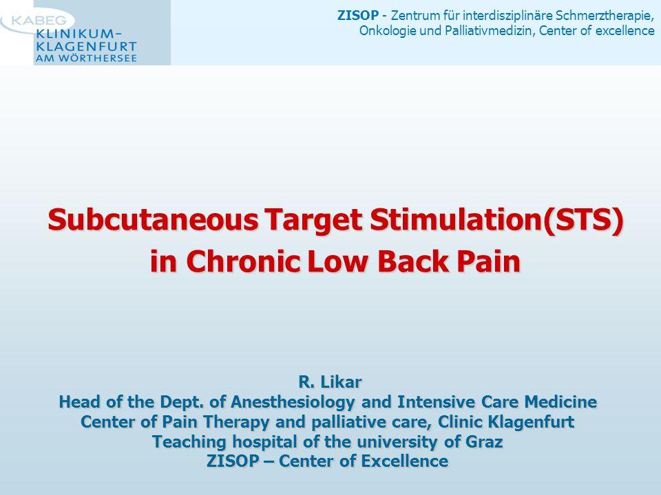 ZISOP - Zentrum für interdisziplinäre Schmerztherapie, Onkologie und Palliativmedizin, Center of excellence Data Collection low back pain