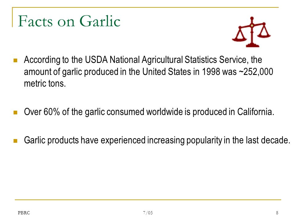 PBRC 7/05 8 Facts on Garlic According to the USDA National Agricultural Statistics Service, the amount of garlic produced in the United States in 1998