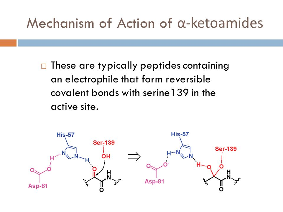Mechanism of Action of α-ketoamides  These are typically peptides containing an electrophile that form reversible covalent bonds with serine139 in the active site.