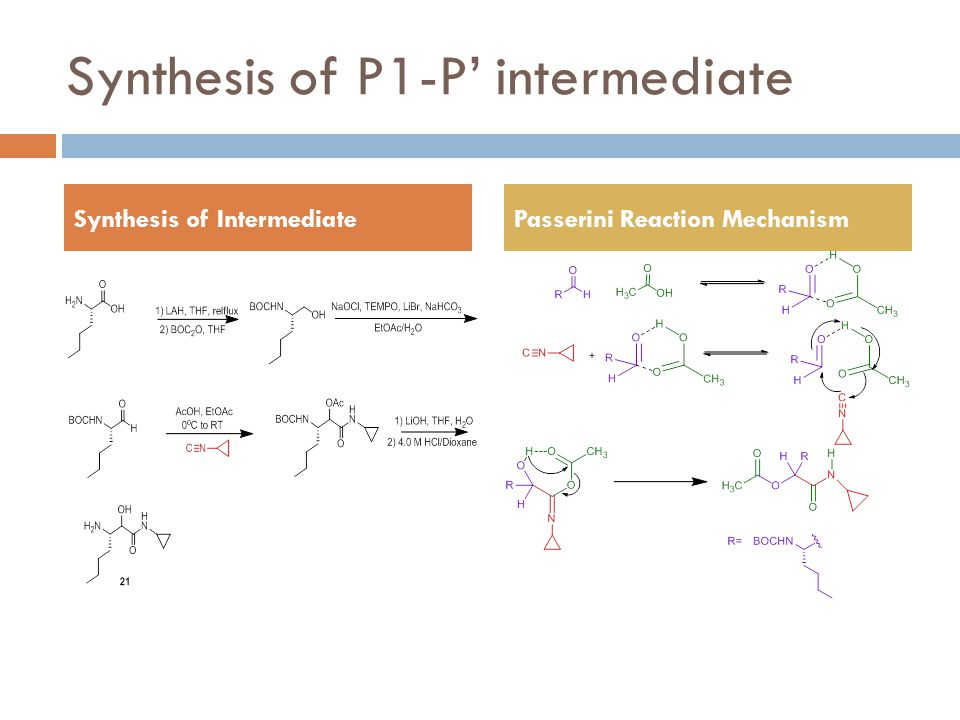 Synthesis of P1-P' intermediate Synthesis of IntermediatePasserini Reaction Mechanism