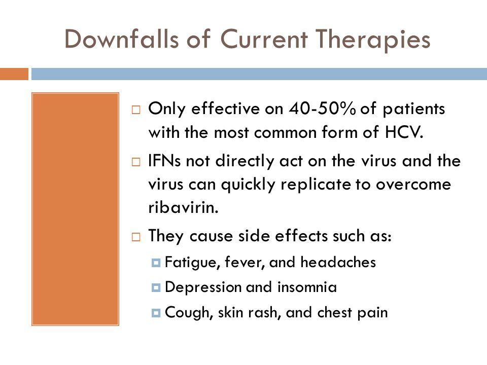 Downfalls of Current Therapies  Only effective on 40-50% of patients with the most common form of HCV.