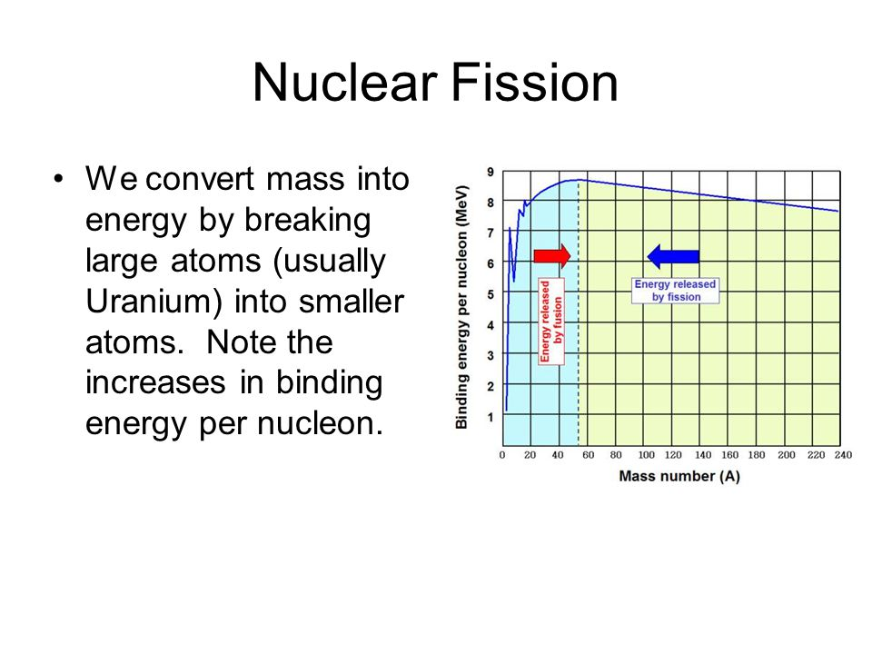 Nuclear Fission We convert mass into energy by breaking large atoms (usually Uranium) into smaller atoms.