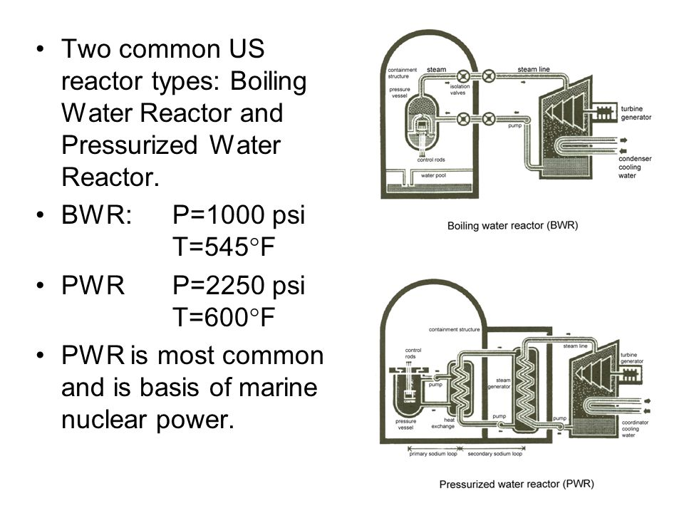 Two common US reactor types: Boiling Water Reactor and Pressurized Water Reactor.