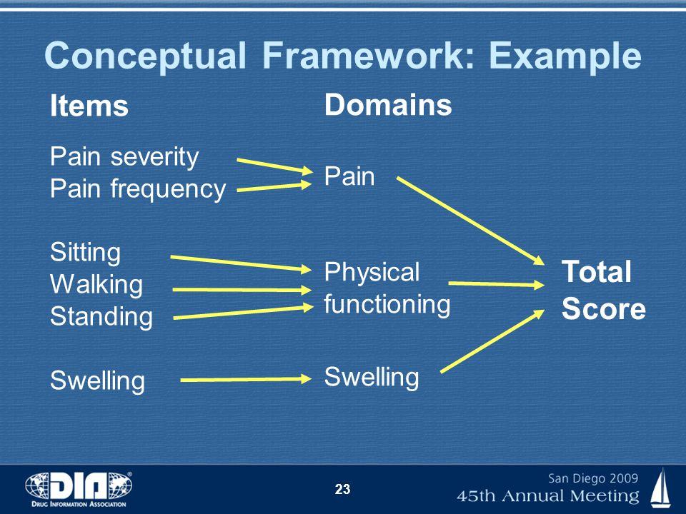 23 Conceptual Framework: Example Items Pain severity Pain frequency Sitting Walking Standing Swelling Domains Pain Physical functioning Swelling Total