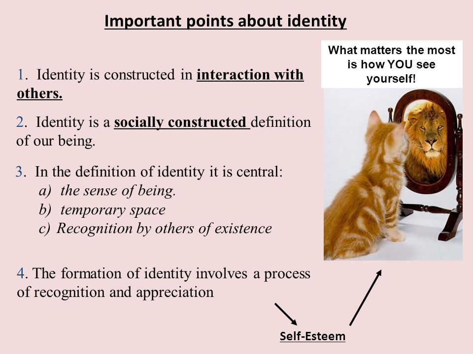 Important points about identity 1.Identity is constructed in interaction with others.