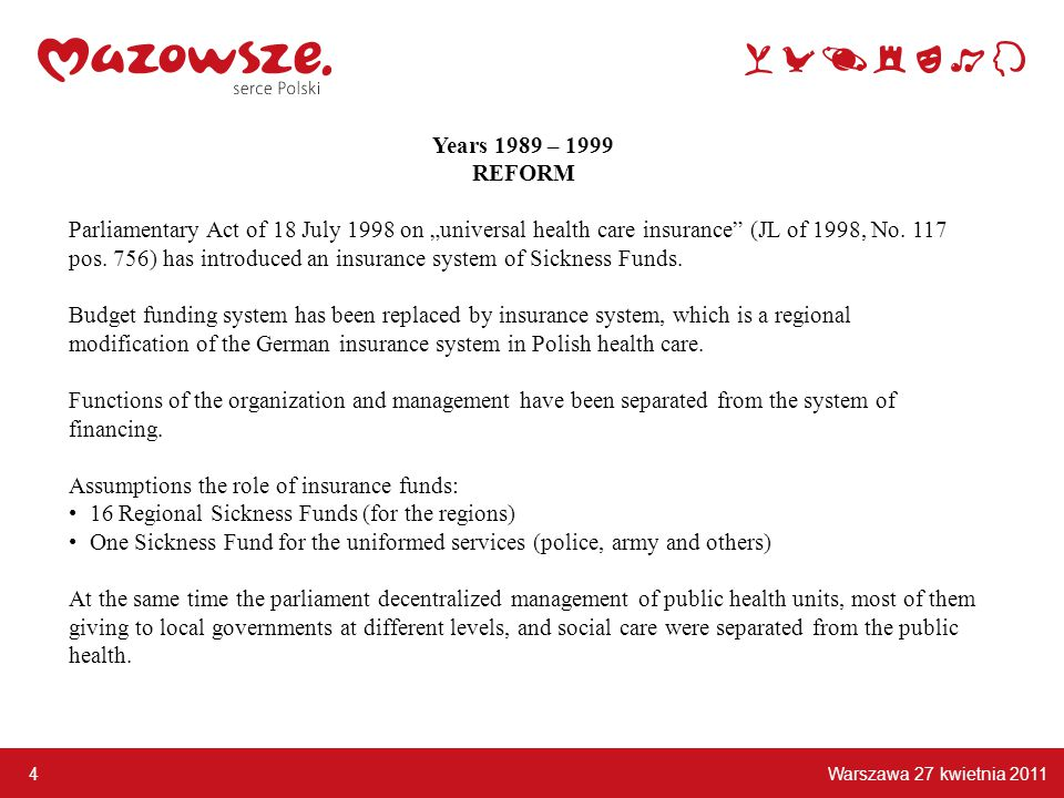 "Warszawa 27 kwietnia 2011 4 Years 1989 – 1999 REFORM Parliamentary Act of 18 July 1998 on ""universal health care insurance (JL of 1998, No."