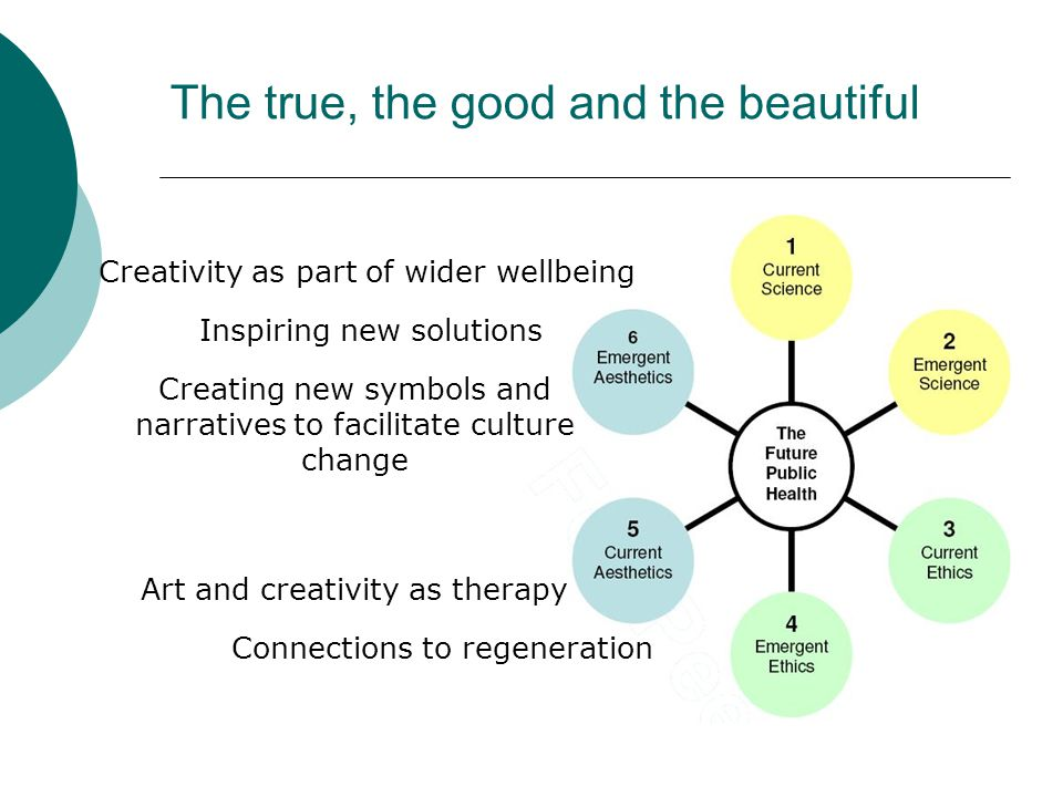 The true, the good and the beautiful Creating new symbols and narratives to facilitate culture change Creativity as part of wider wellbeing Inspiring