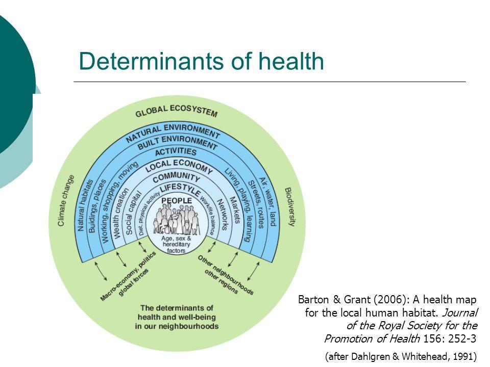 Determinants of health Barton & Grant (2006): A health map for the local human habitat.