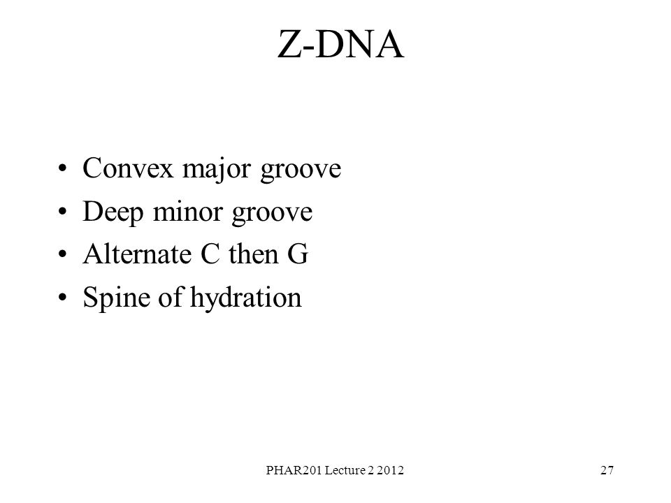 PHAR201 Lecture 2 201227 Z-DNA Convex major groove Deep minor groove Alternate C then G Spine of hydration