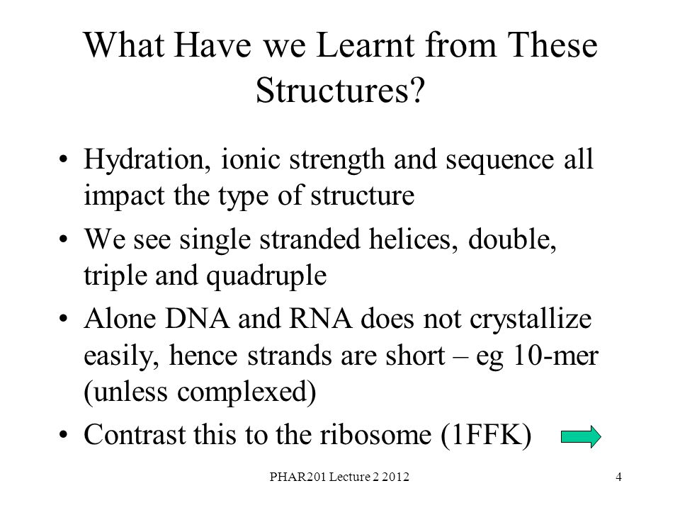 PHAR201 Lecture 2 20124 What Have we Learnt from These Structures.