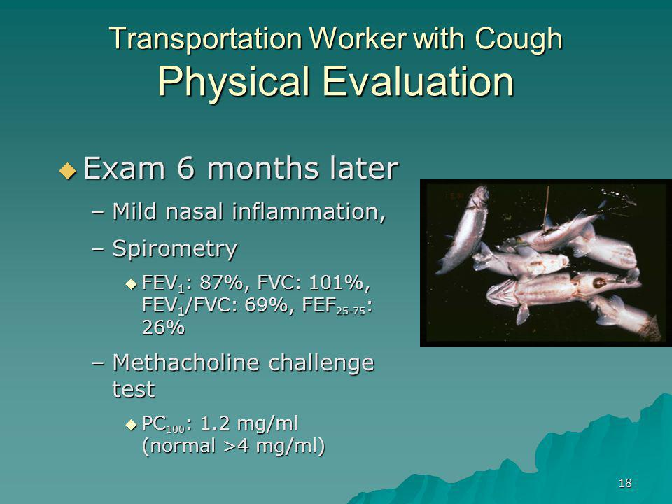 18 Transportation Worker with Cough Physical Evaluation  Exam 6 months later –Mild nasal inflammation, –Spirometry  FEV 1 : 87%, FVC: 101%, FEV 1 /FVC: 69%, FEF 25-75 : 26% –Methacholine challenge test  PC 100 : 1.2 mg/ml (normal >4 mg/ml)