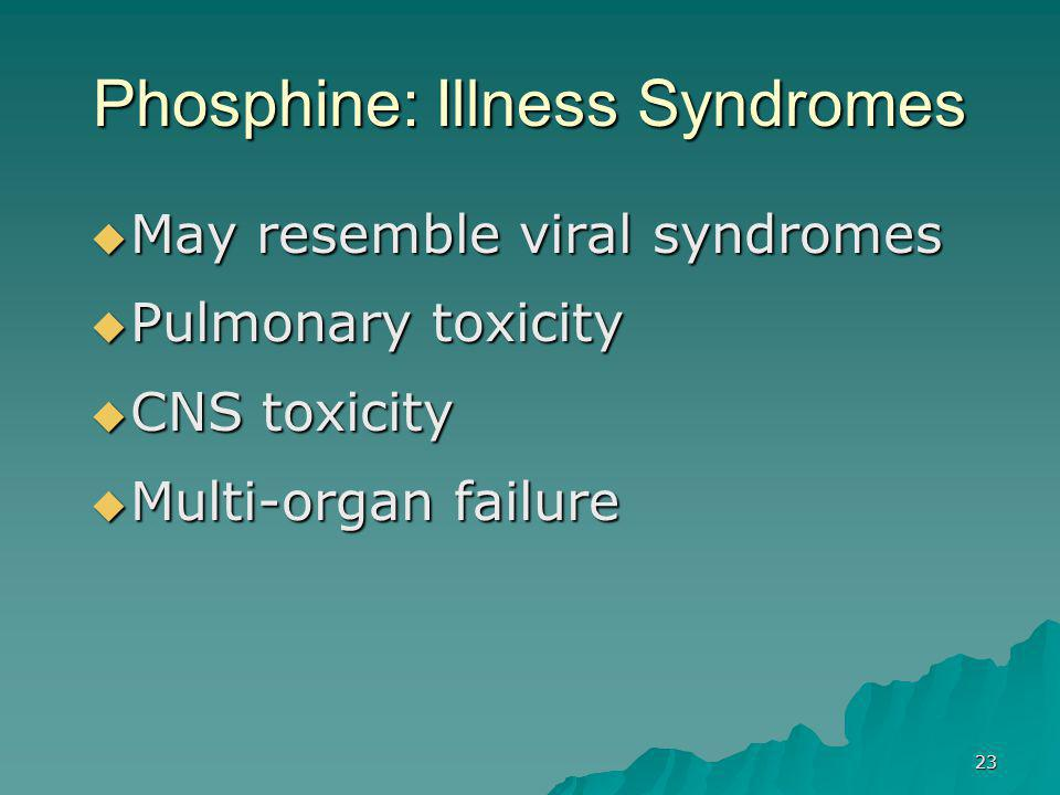 23 Phosphine: Illness Syndromes  May resemble viral syndromes  Pulmonary toxicity  CNS toxicity  Multi-organ failure