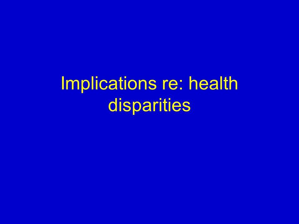 Implications re: health disparities