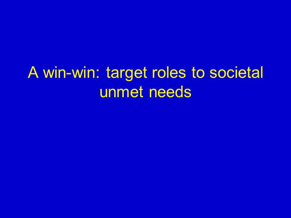 A win-win: target roles to societal unmet needs