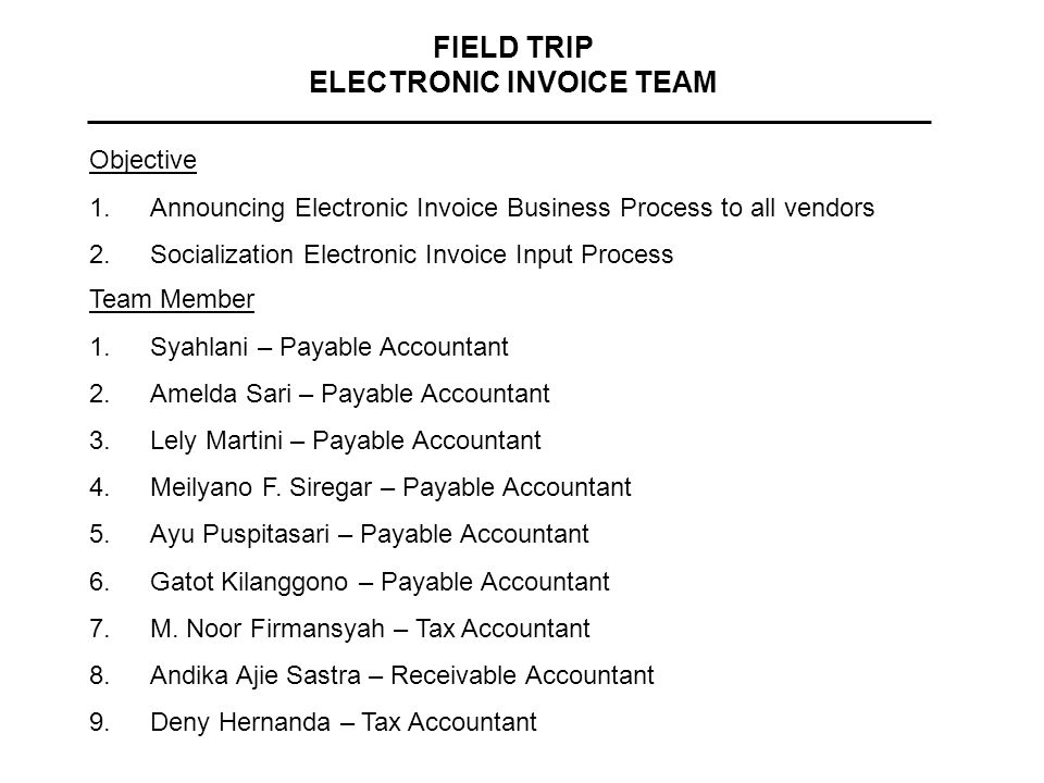 FIELD TRIP ELECTRONIC INVOICE TEAM Team Member 1.Syahlani – Payable Accountant 2.Amelda Sari – Payable Accountant 3.Lely Martini – Payable Accountant