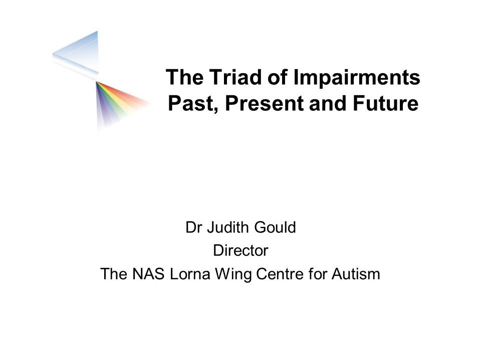 The Triad of Impairments Past, Present and Future Dr Judith Gould Director The NAS Lorna Wing Centre for Autism