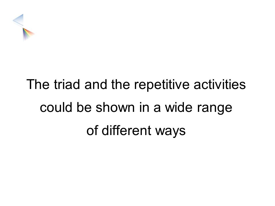 The triad and the repetitive activities could be shown in a wide range of different ways