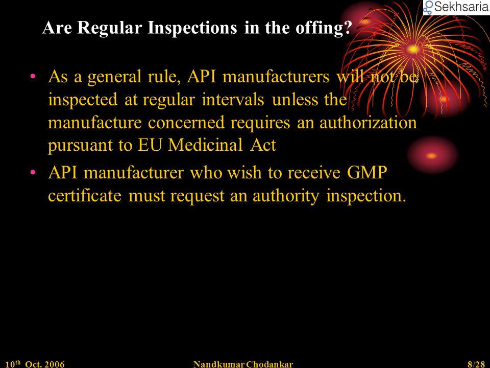 10 th Oct. 2006Nandkumar Chodankar8/28 Are Regular Inspections in the offing.