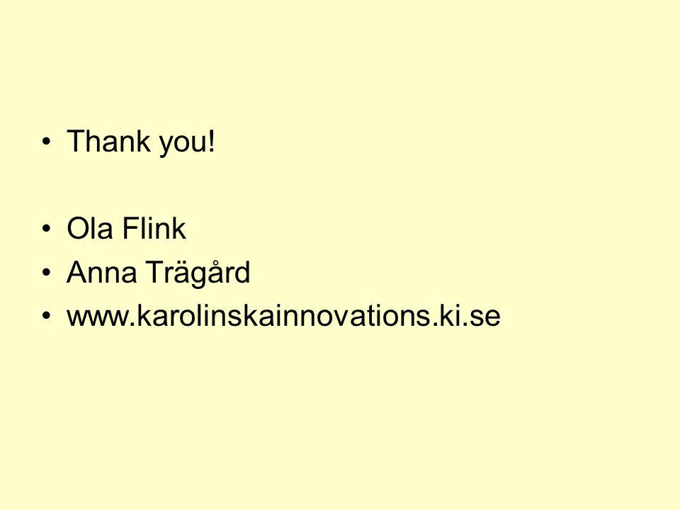 Thank you! Ola Flink Anna Trägård www.karolinskainnovations.ki.se