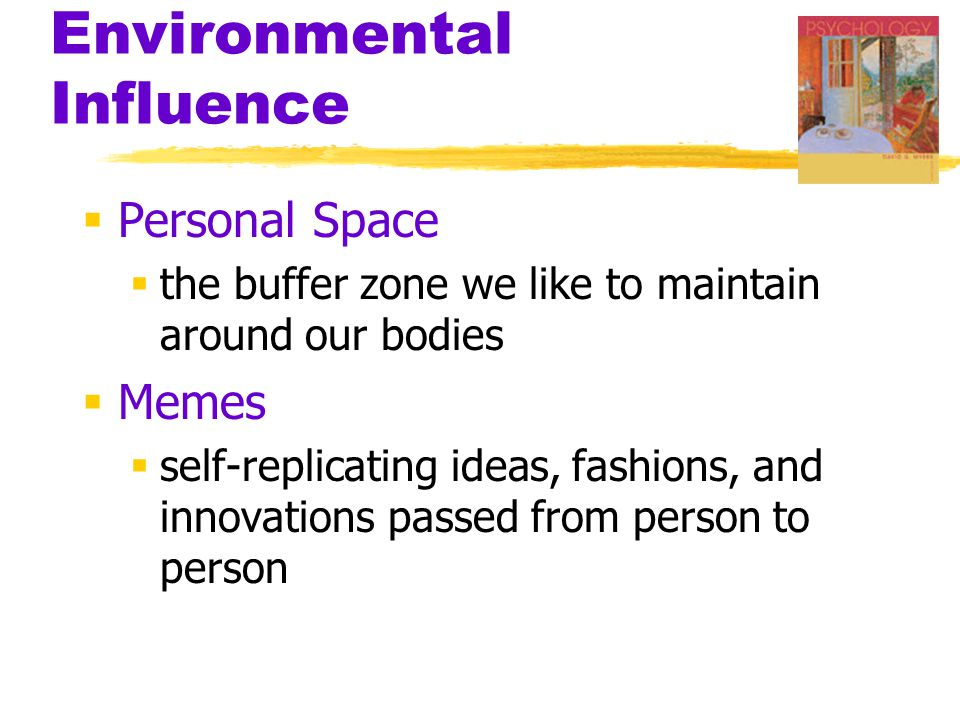 Environmental Influence  Personal Space  the buffer zone we like to maintain around our bodies  Memes  self-replicating ideas, fashions, and innov