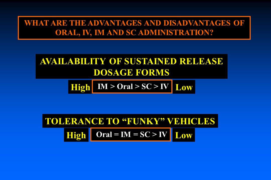 LowHigh WHAT ARE THE ADVANTAGES AND DISADVANTAGES OF ORAL, IV, IM AND SC ADMINISTRATION.