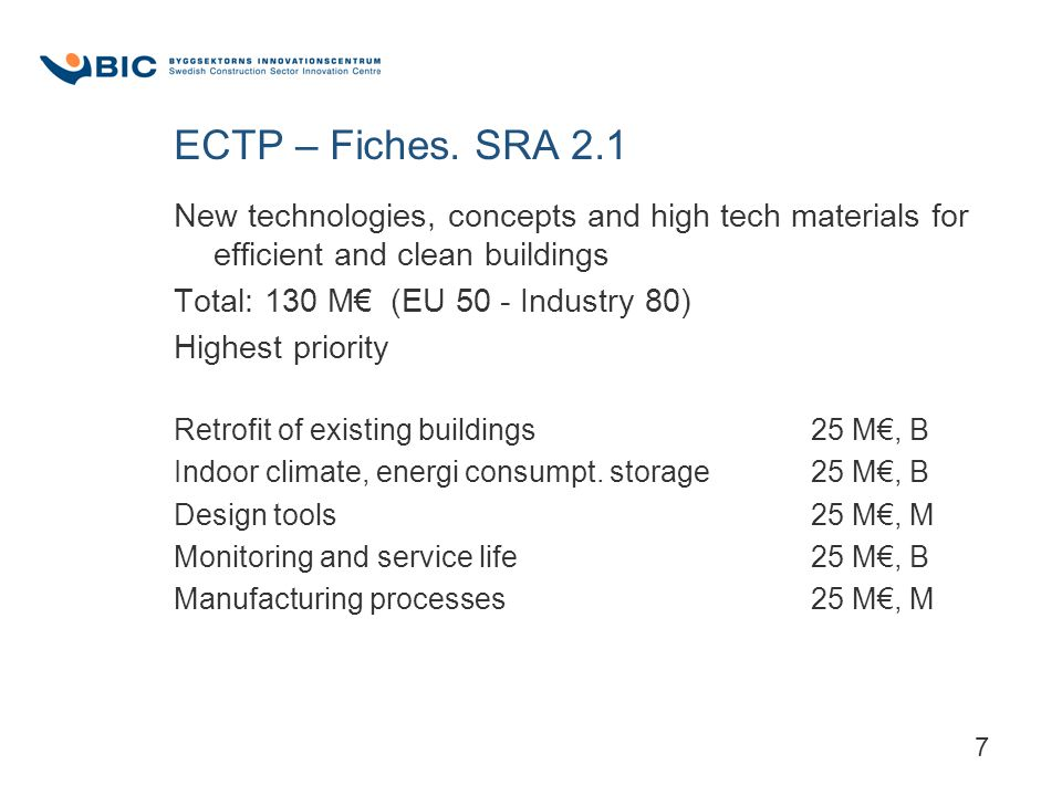 7 ECTP – Fiches. SRA 2.1 New technologies, concepts and high tech materials for efficient and clean buildings Total: 130 M€ (EU 50 - Industry 80) High