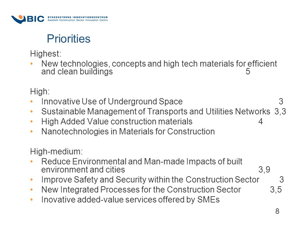 8 Priorities Highest: New technologies, concepts and high tech materials for efficient and clean buildings 5 High: Innovative Use of Underground Space